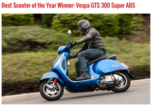 Motorcycle.com voted best scooter of 2015 - Vespa GTS 300 Super ABS